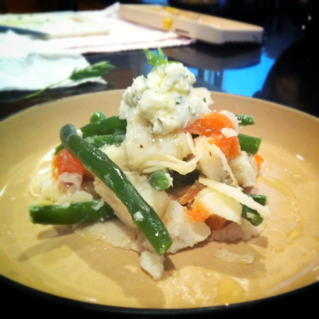 Green bean, potato, fennel salad with smoked ocean trout and whipped tarragon feta