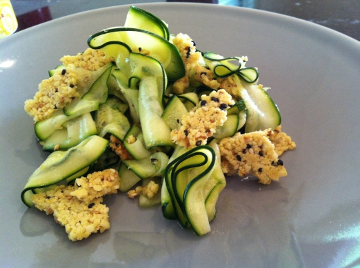 Zucchini ribbon salad with almesan shards