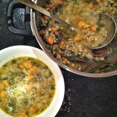 Pearl Barley and Vegetable Soup with Shiitake and Kombu stock
