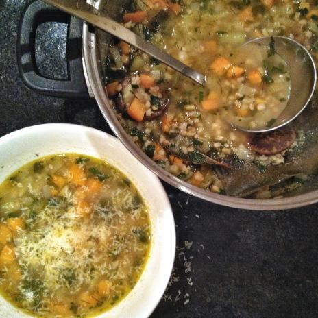 Pearl Barley and Vegetable Soup with Shiitake and Kombu stock