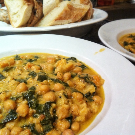Aromatic chickpea potage with spinach and salt cod